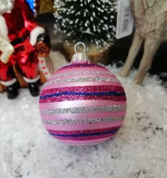 Pink stribet juletræskugle i Ø 7 cm