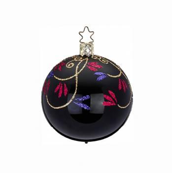 Porcelæns sort juletræskugle med bladgrene