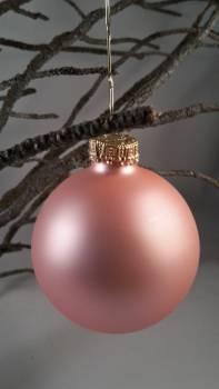 Puder rosa silkemat juletræskugle Ø 6.7 cm