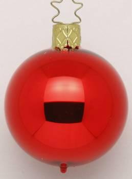 Rød højglans mundblæst juletræs kugle 8 cm