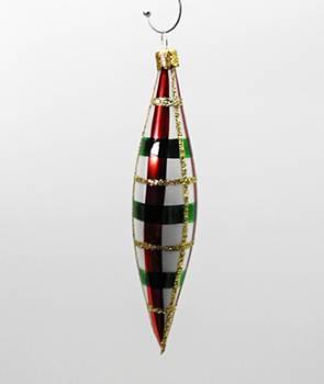 Rød og grøn ternet dråber juletræskugler 14 cm