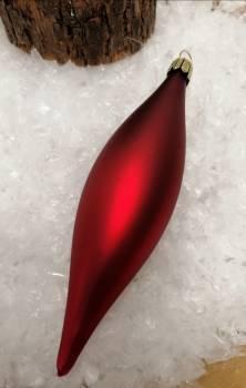 Rød silkemat dråbe juletræskugle 12 cm