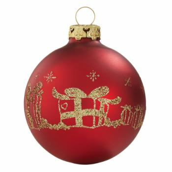 Rød silkemat julekugle med guld dekor