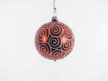 Rød silkemat juletræskugle med swarovski sten