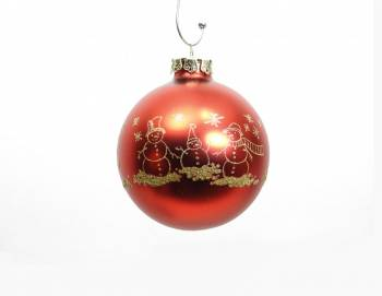Rød silkemat snemands juletræskugle med guld