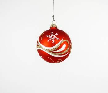 Røde juletræskugler med snoninger og is krystaller Ø 7 cm