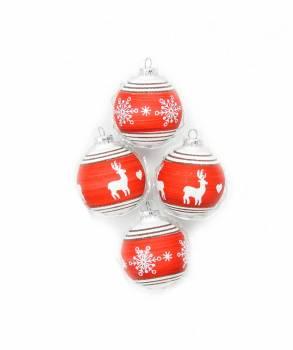 Røde og hvide juletræskugler med rensdyr Ø 7 cm