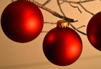 Røde silkematte julekugler Ø 5 cm