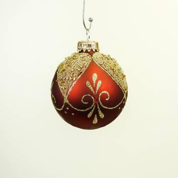 Røde silkematte juletræs glaskugler