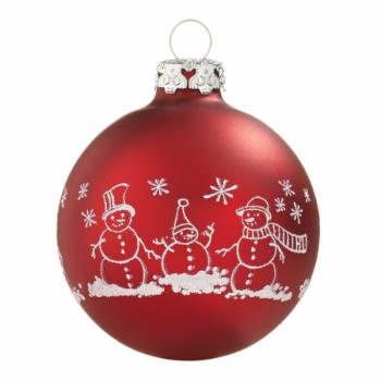 Røde silkematte snemands juletræskugler