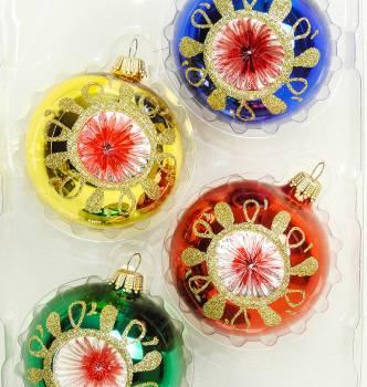 Retro reflektor juletræs glaskugler Ø 10 cm