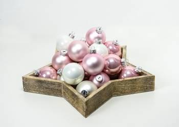 Rosa og hvide juletræskugler mix Ø 6 cm