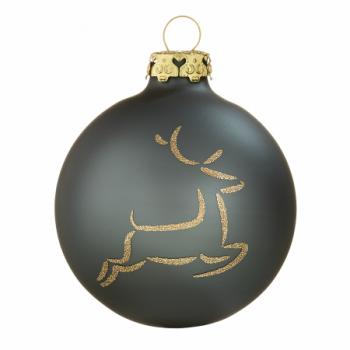 Silkemat antracitgrå springende hjort juletræskugle