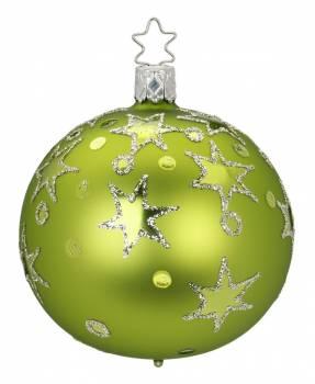 Silkemat lime glaskugle med dot og stjerne