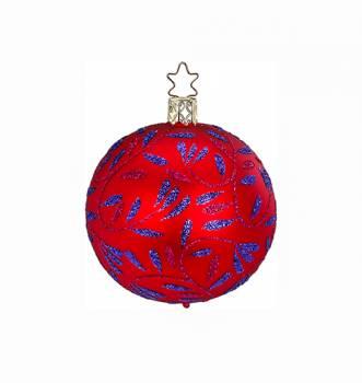 Silkemat rød juletræskugle med bladgrene