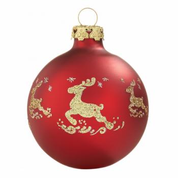 Silkemat rød rensdyr juletræskugle