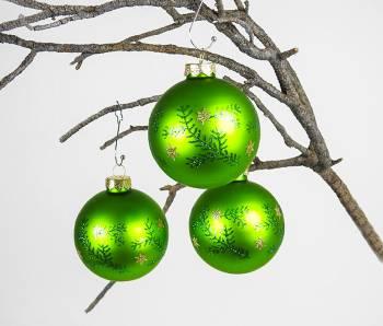Silkematte grønne juletræs kugler med deko