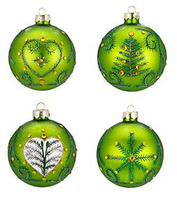 Silkematte grønne juletræskugler med deko