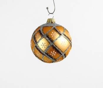 Silkematte guld juletræskugler guld og cappuccino deko