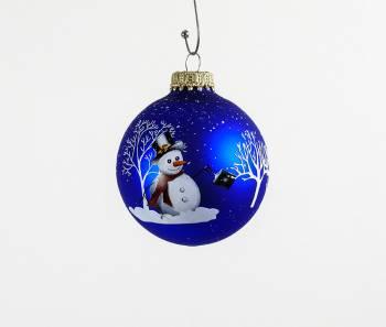Silkematte koboltblå juletræskugler med snemand Ø 7 cm