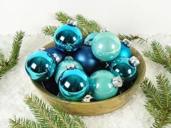 Silkematte og højglans turkise glas juletræskugler