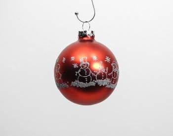 Silkematte røde snemands glas julekugler med sølv