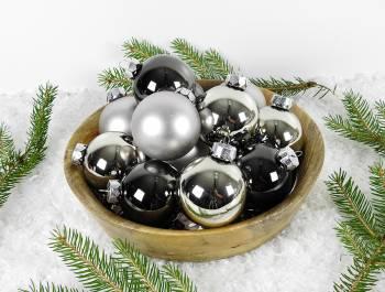 Silkematte og blanke sølv antracit juletræskugler