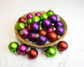 Silkematte tivoli farvet juletræskugler mix Ø 4 cm