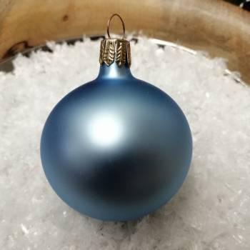 Silkematte babyblå mundblæste juletræskugler Ø 6 cm