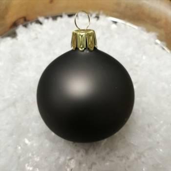 Silkematte koksgrå mundblæste juletræskugler Ø 6 cm