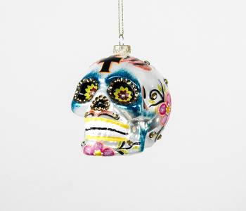 Skull i hvid opal og retro farver juletræskugler