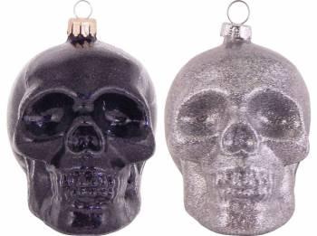 Skull i sorte og sølvglimmer juletræskugler