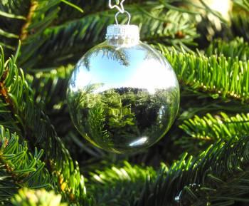 Sølv højglans glas juletræskugler Ø 6.7 cm