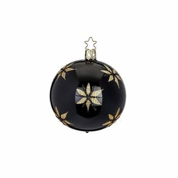 Sort porcelæns juletræskugle med stjerner i glimmer