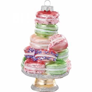 Stor kage fad med macaron juletræskugle 14.5 cm