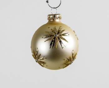 Vanille silkematte juletræskugler med guld stjerne
