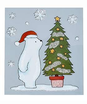 Vindue vinyl stickers isbjørn med juletræ