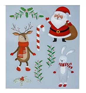 Vindue vinyl stickers julemand og rensdyr
