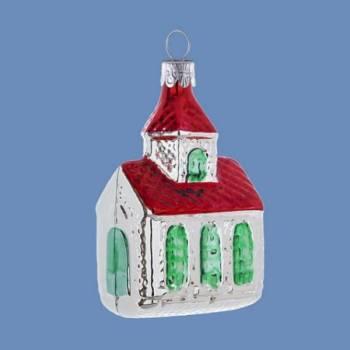 Vintage højglans sølv kirke med rødt tag