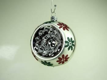 Vintage reflektor sølv juletræskugle blomster