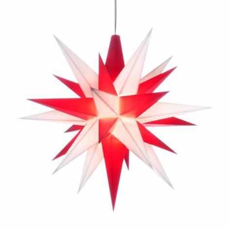 Advent 13 cm Christiansfelder - Herrnhuter stjerne i rød og hvid