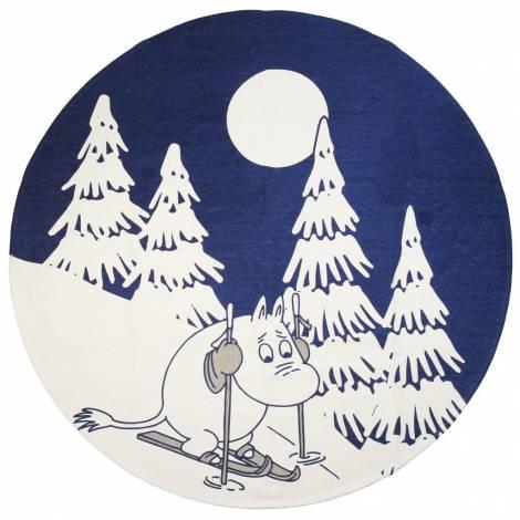 Blå Mumietrold på ski juletræstæppe Ø 120 cm