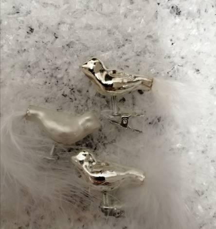 Fugle på clips i hvid og sølv