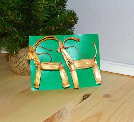 Gamle strå julebukke ornament