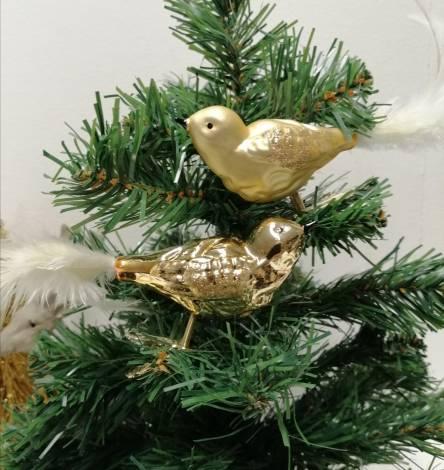 Glasfugle med klemme guld