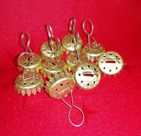 Guld caps til 6.7 cm juletræs kugler