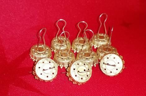 Guld caps til 8 cm juletræs kugler