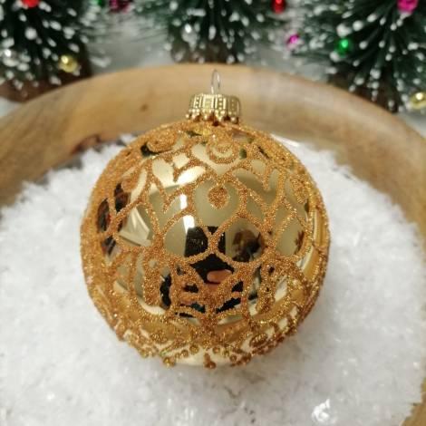 Guld juletræskugle med deko Ø 8 cm