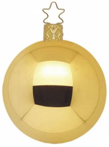 Højglans guld mundblæst juletræskugle 15 cm