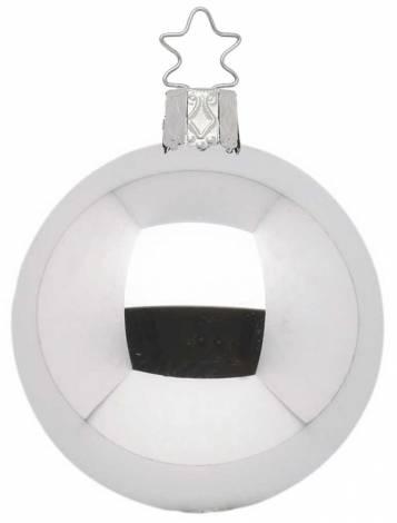 Højglans sølv mundblæst juletræskugle 15 cm